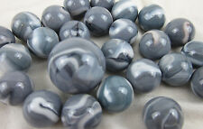 25 Glass Marbles ASIAN ELEPHANT Grey/White game pack vtg style Shooter Swirl