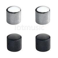 4 Pcs Chrome Black Brass Dome Knob For Electric Guitar Tele Telecaster Or Bass