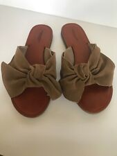 American Eagle Outfitters AEO Suede Sandal Flat Slide Taupe shoe Size 7