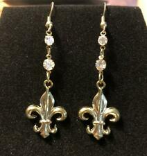 Rhinestone /New Orleans Earrings-Gold New! Fleur De Lis