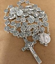 ST.BENEDICT PROTECTOR ROSARY pewter medallions made in Poland Italian parts 22""