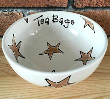Personalised Handpainted Ceramic Tea Bag Any Text Dish Bowl