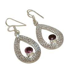 Faceted Amethyst Circle Gemstone silver plated Handmade Hemmer Dangle Earrings
