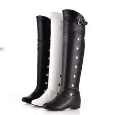 Women Knee High Boots Low Heel Causal Buckle Shoes Riding Biker Long Boot Size