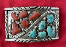 Zuni Sterling Silver Turquoise Coral Belt Buckle Signed Wayne C Cheama