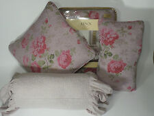 4 PC SET NEW LENOX FULL QUEEN QUILT VINTAGE FLORAL PURPLE BED + 3 THROW PILOWS