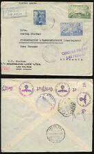 Islas Canarias censor militar 1940 Correo Aéreo Woermann Envelope... España el franqueo