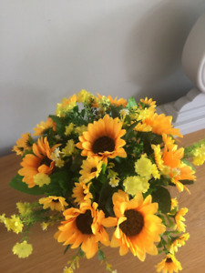 Artificial Flowers - Cemetery Grave Pot with Sunflowers