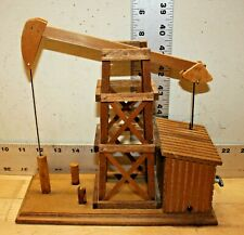 Wooden Chinese Craftsmen Animated Oil Well / Oil Rig Music Box