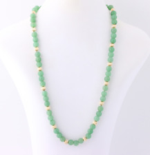 "Adventurine Necklace 22"" Beads w/ 14kt Gold Filled Clasp & Gold Bead --  8mm"