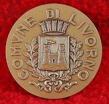 "Comune Di LIVORNO Italy 1-3/4"" Bronze Medallion Diversis Gentibus Una - MUST SEE"