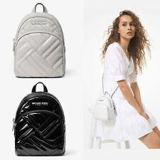 Michael Kors ABBEY XS Quilted Backpack Black Aluminum White Crossbody Messenger