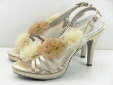 Satin Floral Slim Heels for Women