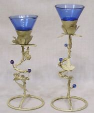 Vintage Pair Cobalt Glass and Wire Art Candle Holders Metal Vines Glass Balls