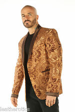 Deluxe Gold Pale Mens Blazer Steampunk Outfit Vintage Dress Coat Top Large