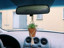 Mini Macrame Knotted Plant Hanging/Hanger with Pot for Car Mirror Home Decor