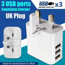 3 Ports Multi USB Wall Charger AC Power Supply Adapter UK Plug Travel Fits All