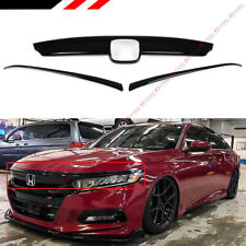 FOR 2018-2020 HONDA ACCORD GLOSSY BLACK FRONT GRILL MOLDING TRIM + EYELID COVER