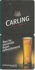 2 NEW RECENT ISSUE *CARLING Lager* Sq Beer Mats *FREE POST* Pub Bar Man-Cave