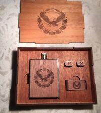 Handcrafted Woodchuck Gift Set for Golfer: Cufflinks, Money Clip, Flask in Box