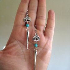 Earrings Silver Turquoise Hippie Punk Spike Boho Tribal Gypsy Bohemian A1014
