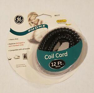GE Genuine 12 Ft Black Coil Phone Cord Heavy Duty (86177) NEW /NIP