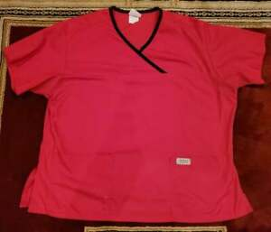 IZZY SCRUBS by PEACHES Scrub Top Women's Short Sleeve Red Size XL