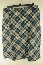 Tracy Evans Women's Brown Blue & Orange Plaid Polyester Blend Skirt Size 9