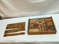 Vintage 1930s Children Wood Building Blocks 100 Pieces in wood case