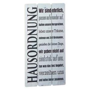 """Spruchtafel Planken Schild Wandschild in Retro Optik   """" Hausordnung ..."""""""