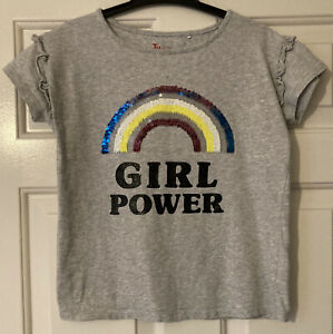 Girls Grey Tshirt Age 11 Years From Tu Girl Power Sequin Rainbow Short Sleeve