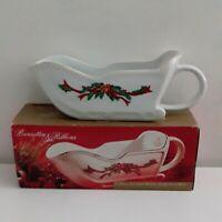 16 oz. Porcelain Holiday Sleigh Gravy Boat Poinsettia & Ribbons Fine China w/Box