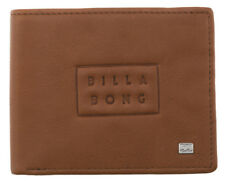 NEW IN BOX MENS BOYS BILLABONG DIE CUT REAL LEATHER TRI-FOLD FLIP WALLET TAN