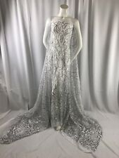 DAZZLING FASHION TREE EMBROIDER WITH SILVER SEQUINS ON A WHITE MESH-BY THE YARD