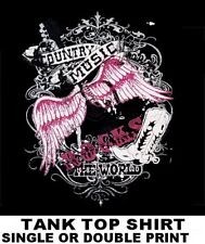 COUNTRY WESTERN MUSIC ROCKS THE WORLD COWBOY COWGIRL HAT BOOTS TANK TOP SHIRT