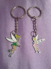 1 Green Tinkerbell / 1 Pink Tinkerbell  Peter Pan Inspired silver tone Key rings