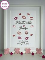 Hen Party Game Accessories Kiss The Miss Goodbye Hen Party Personalised A4 Print