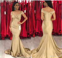 Elegant Off Shoulder Satin Mermaid Prom Dress Long Evening Party Pageant Gown