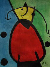 Surreal character painting, signed Joan Miro, w COA