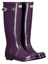 WOMENS ORIGINAL TALL GLOSS PURPLE HUNTER WELLIES WELLINGTONS RAIN BOOTS UK 3