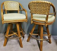 2 Vintage McGUIRE Mid Century Modern Bamboo + Leather Swivel Counter Bar Stools