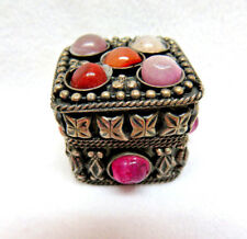 Ornate Silver Metal Trinket Box w/ Agate Stones