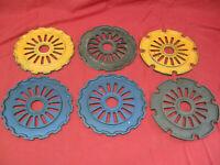 Antique Lot of 6 Cast Iron International Seed Plates Vintage Farming
