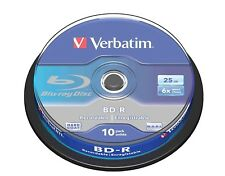 Verbatim BD-R 25GB 6x Speed Recordable Single Layer Blu-ray Disc Spindle Pack 10