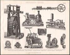 1870 Gravure originale mécanique hydraulique pompe à eau pompier machines