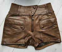 Matchless Damen Leder Biker Rocker Shorts Kurze Hose  Braun Size 42