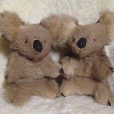 "VTG Pair of Real Fur 10"" Plush KOALA BEARS -Australian Kangaroo Figure/Souvenir"