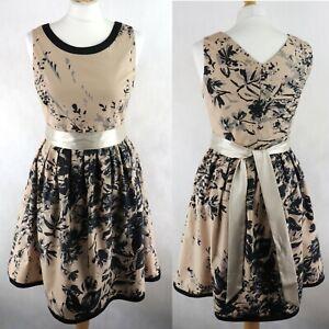Womens OASIS Skater Dress Fit&Flare SIZE UK 10 Floral Belted Party Beige Black