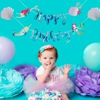 Mermaid Happy Birthday Banner Under The Sea Flag Baby Shower Party Decoration