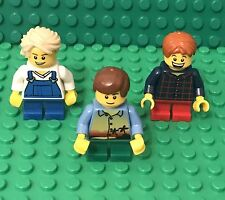 Lego New City Town Square Kids / Boys Child Mini Figures X3 With Short Legs